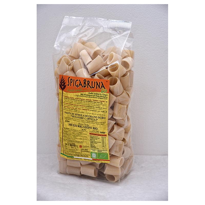 Organic artisanal pasta Mezzi rigatoni Bio 500g Linea ELETTA - SpigaBruna Bio
