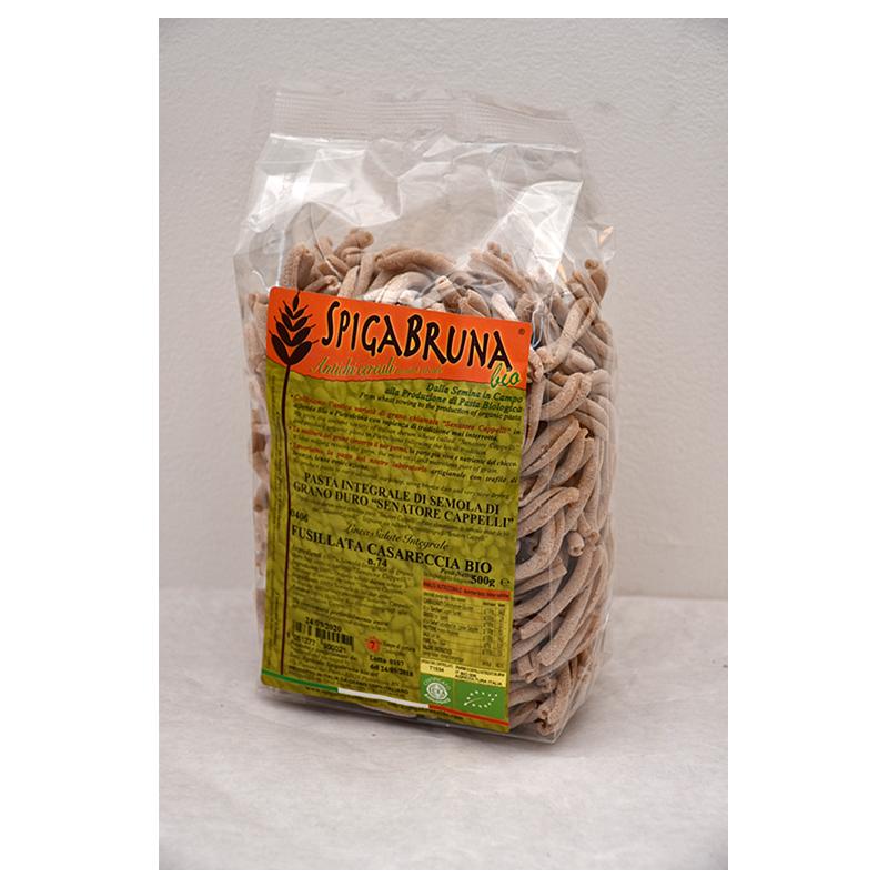 Organic artisanal wholemeal flour pasta Fusillata Casareccia Bio 500g Linea SALUTE INTEGRALE - SpigaBruna Bio
