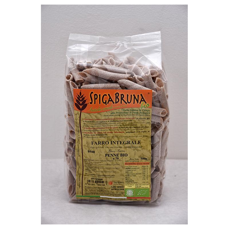 Organic artisanal spelt flour pasta Penne Bio 500g Linea Farro - SpigaBruna Bio