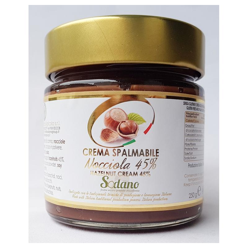 Crema artigianale 45% Nocciole - vaso in vetro da 250g - Sodano